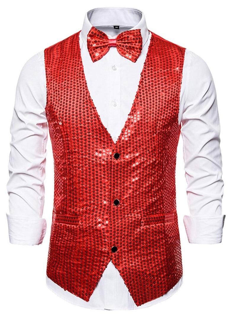 Ericdress Plain V-Neck Sequins Men's Fashion Waistcoat