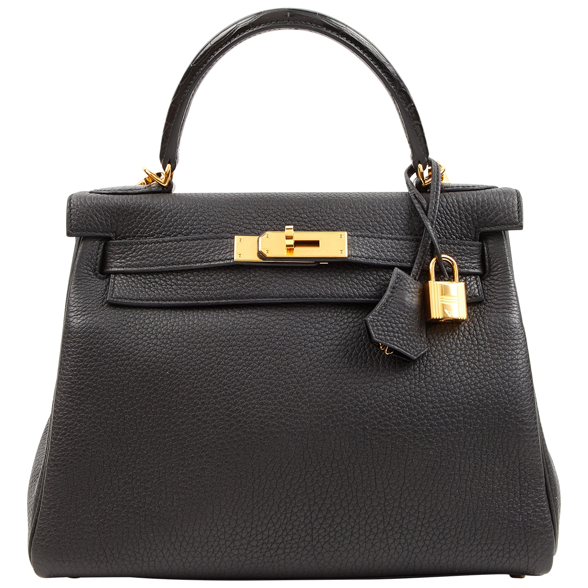 Hermes Kelly 28 Handtasche in  Schwarz Leder
