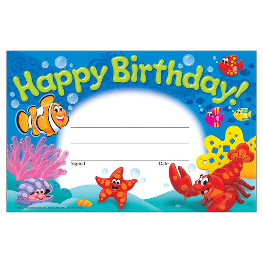 Trend Enterprises® Birthday Sea Buddies™ Awards, 12 Packs Of 30 | Michaels®
