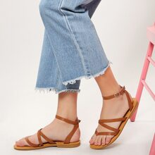 Buckled Ankle Multi Strap Gladiator Thong Sandals