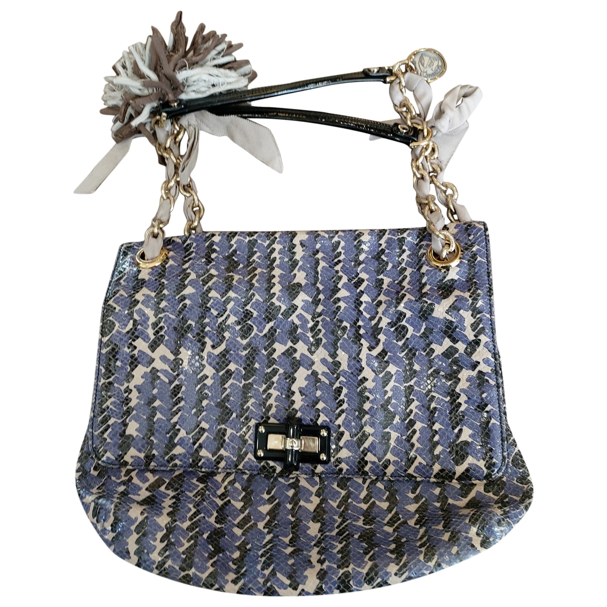 Lanvin - Sac a main   pour femme en python - violet