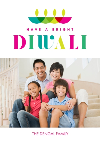 Diwali Cards 5x7 Cards, Premium Cardstock 120lb with Rounded Corners, Card & Stationery -Bright Diwali Wishes