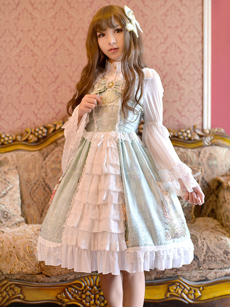 Milanoo Sweet Lolita Dress JSK May Maid Printed Lace Bow Ruffled Lace Up Lolita Jumper Skirt Original Design