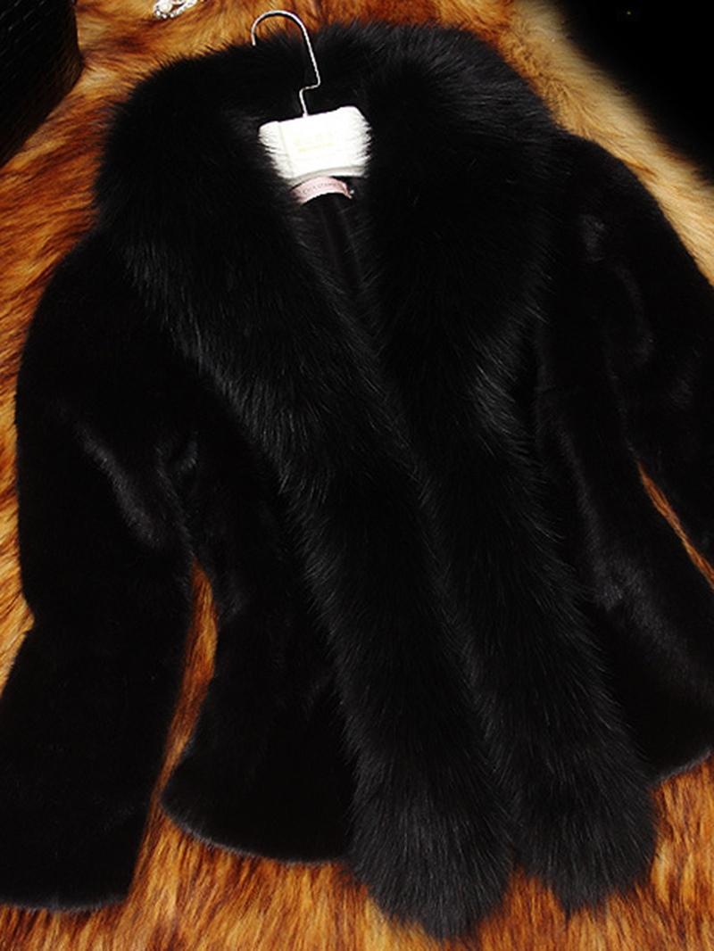 Ericdress Plain Thick Patchwork Faux Fur Coat