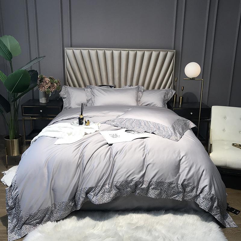 Modern Solid Color Simplicity Four-Piece Set Duvet Cover Set Long Staple Cotton Bedding Sets