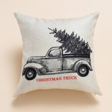 Christmas Car Print Cushion Cover Without Filler