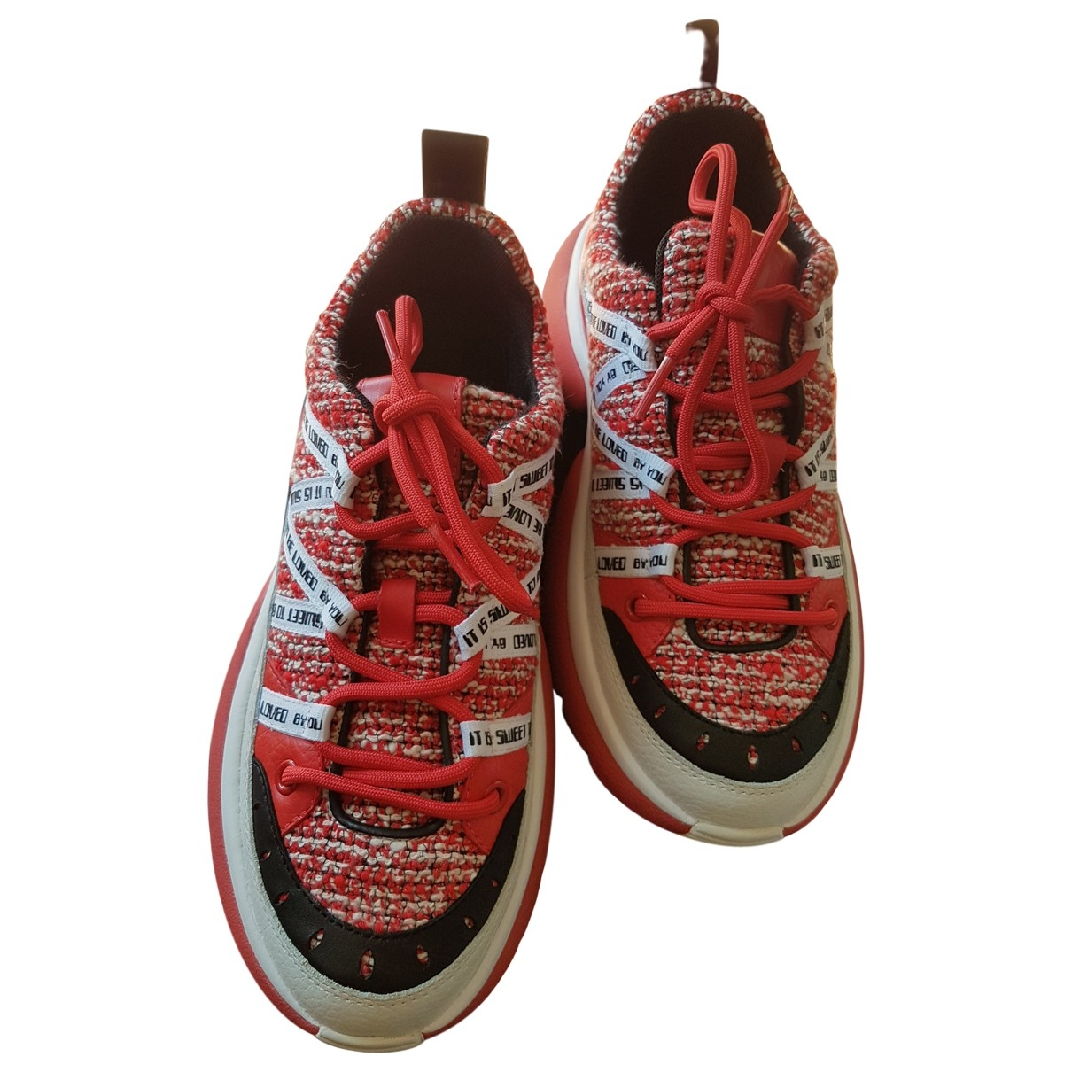 Maje \N Red Leather Trainers for Women 38 EU