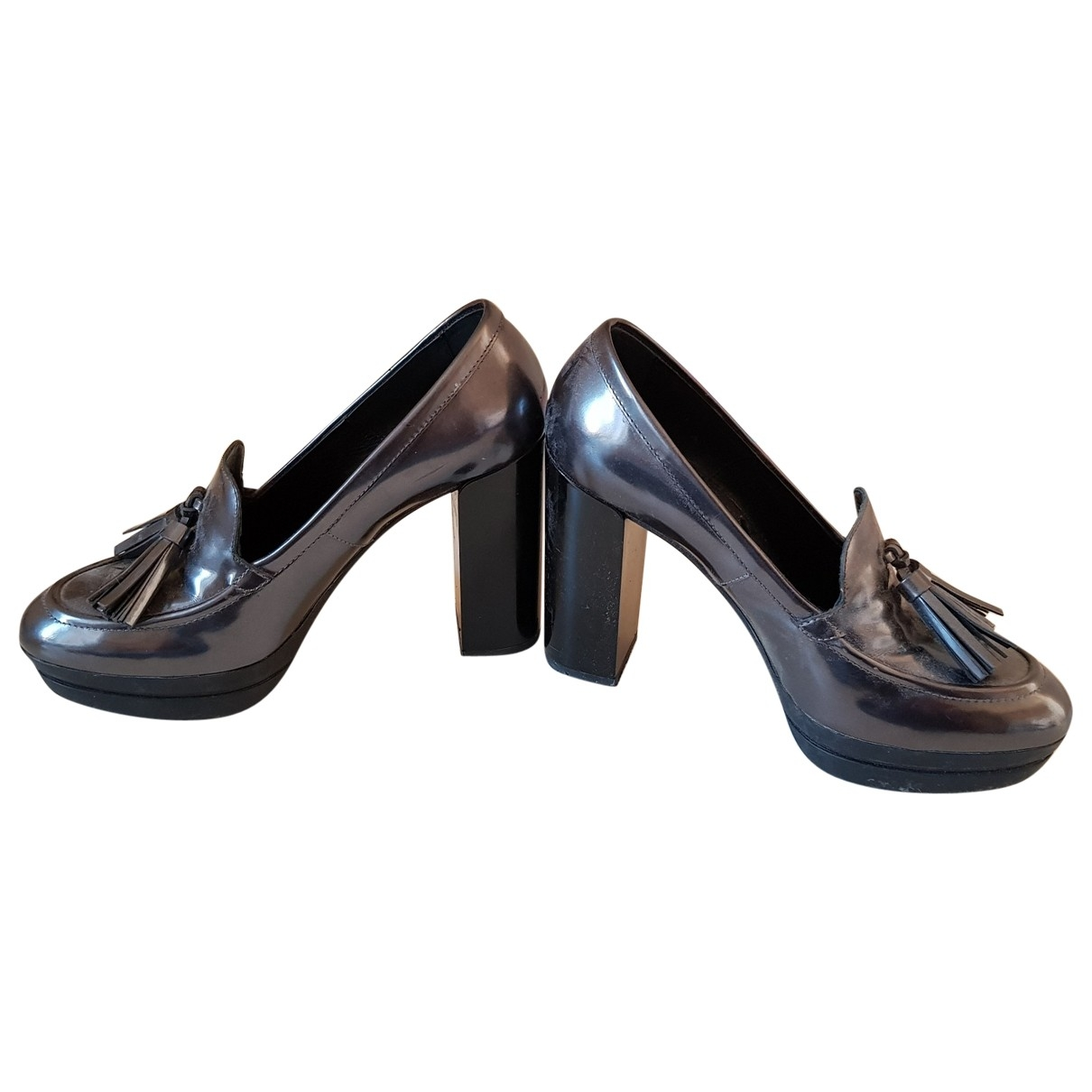 Hogan N Grey Leather Heels for Women 38 EU
