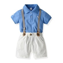 Toddler Boys Graphic Embroidery Polo Shirt & Suspender Shorts