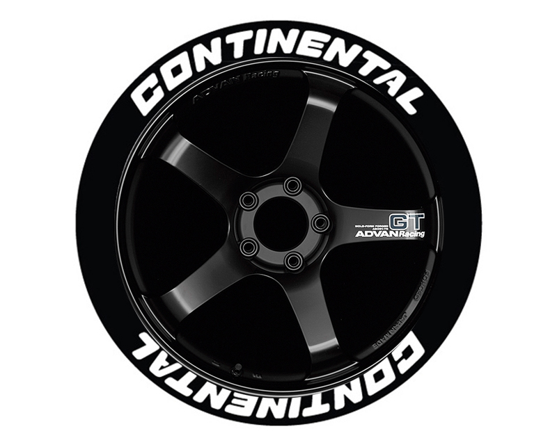 Tire Stickers CON-1921-75-8-W Permanent Raised Rubber Lettering 'Continental' - 8 Of Each - 19