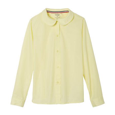 French Toast Little & Big Girls Long Sleeve Button-Down Shirt, 6 , Yellow