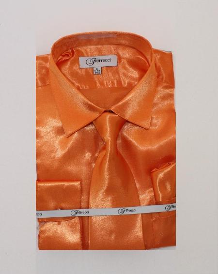 Mens Shiny Luxurious Shirt Orange