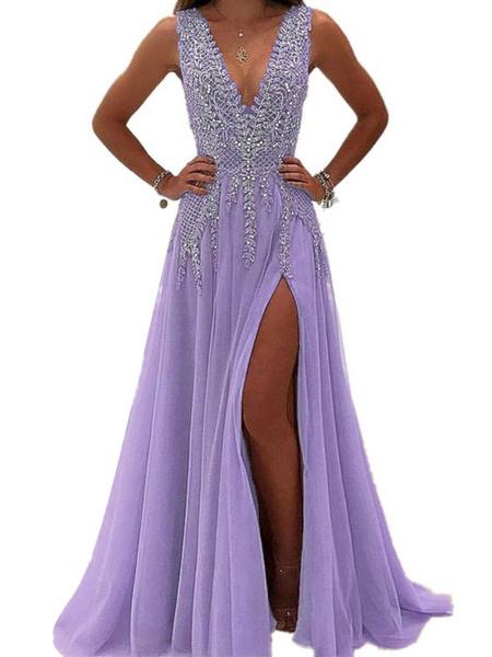 Milanoo Evening Dress A Line V Neck Sleeveless Zipper Beaded Lace High Split Social Pageant Dresses