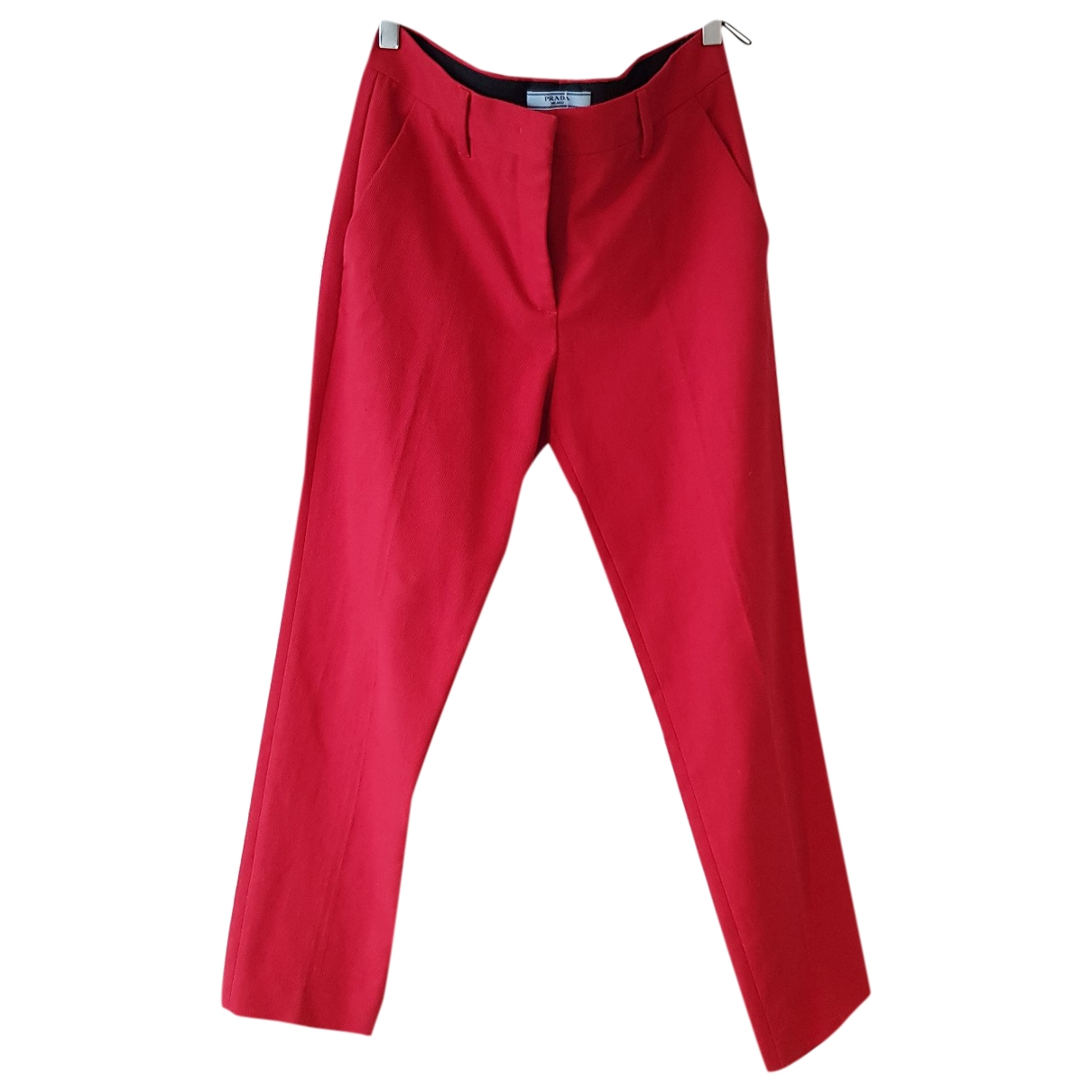 Prada \N Red Cotton Trousers for Women 42 IT