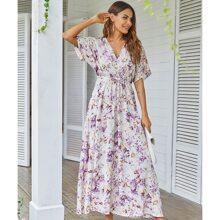 A Linie Kleid mit Fledermausaermeln, Band vorn und Blumen Muster