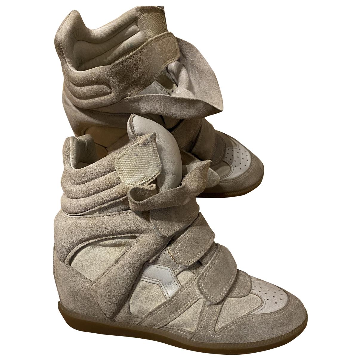 Isabel Marant Beckett Sneakers in  Beige Veloursleder
