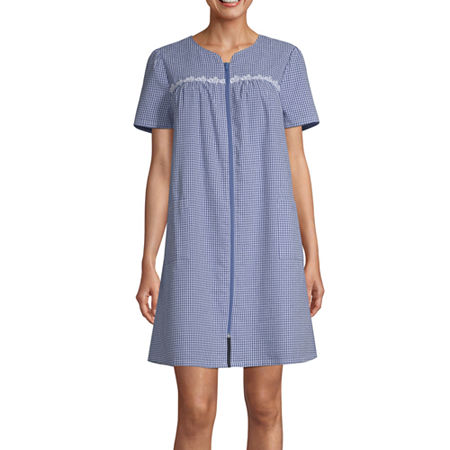 Adonna Womens Short Sleeve Knee Length Robe, Medium , Blue