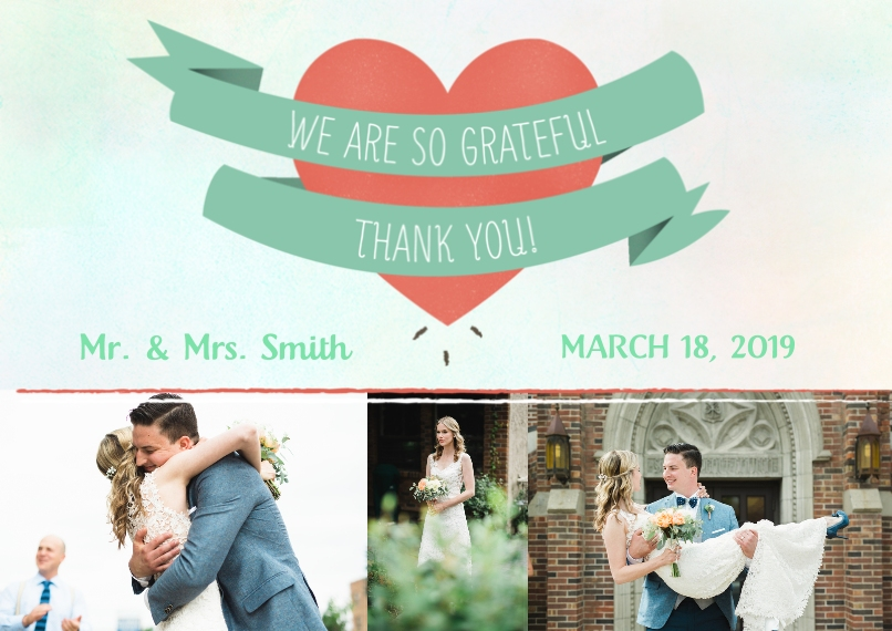Wedding Thank You 5x7 Cards, Standard Cardstock 85lb, Card & Stationery -Wrapped Heart Thank You Mr. & Mrs.