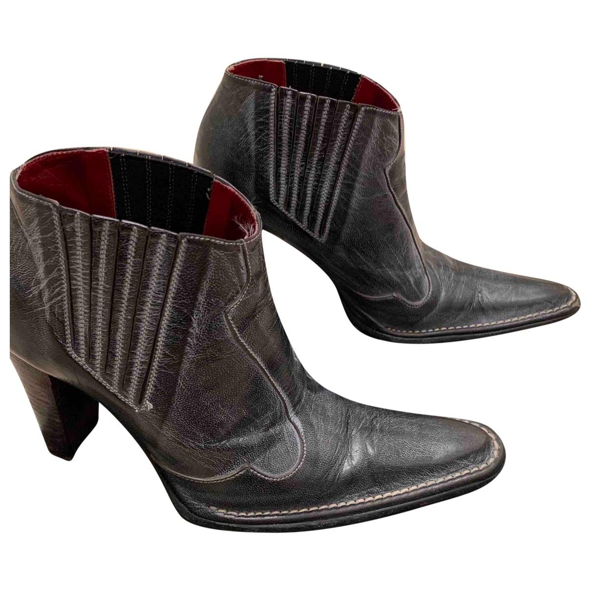 Elisabetta Franchi - Boots   pour femme en cuir - gris