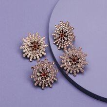 Pendientes y anillo y broche con diamante de imitacion