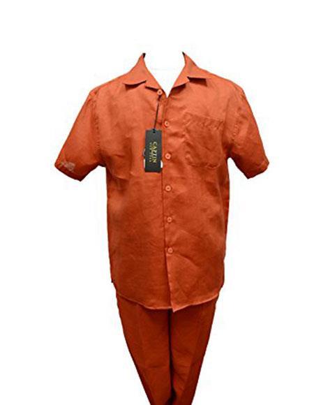 Mens Summer Casual 2Piece Rust Burnt Orange Walking Suits Cuffed Pants