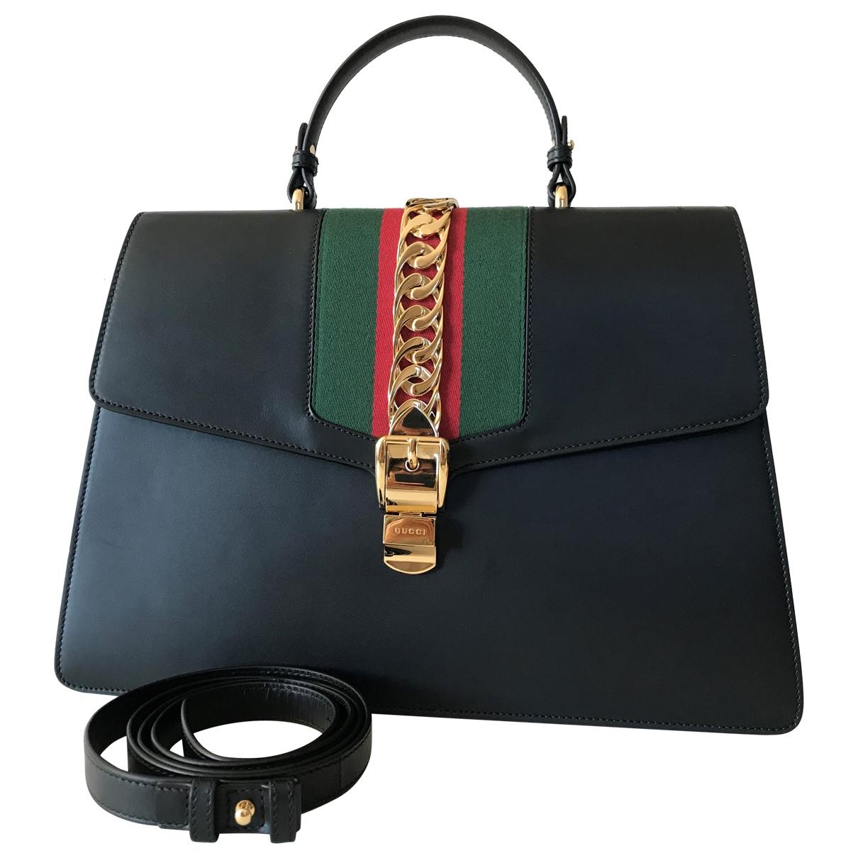 Gucci Sylvie Black Leather handbag for Women \N