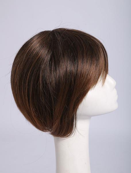 Milanoo Peluca corta recta de color marron para mujeres