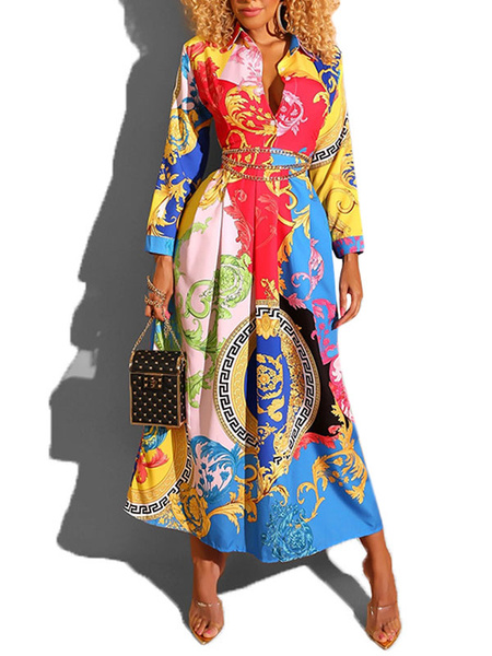 Milanoo Dashiki Vestidos largos Vestido de camisa de manga larga Vestido africano con estampado tribal