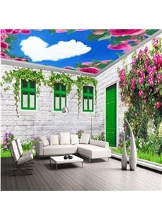 Warm House with Flowers Decoration and Heart Shaped White Clouds Pattern Combined 3D Ceiling and Wall Murals