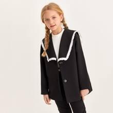 Mantel mit Kontrast Rueschen Detail und Exerzierkragen