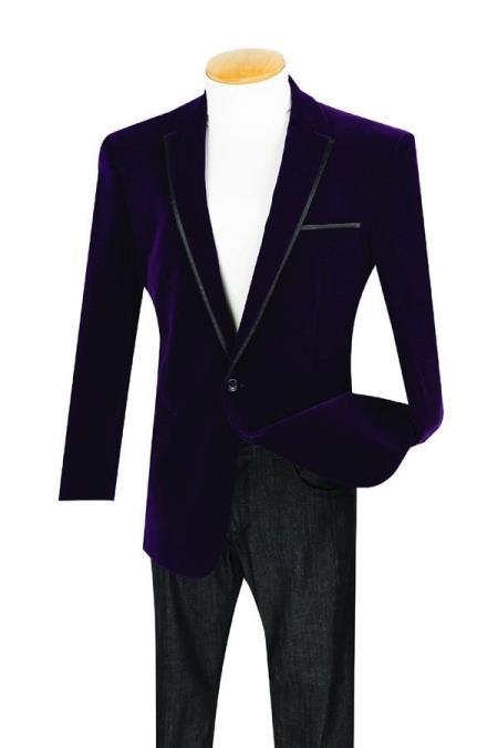 Mens 1 Button Purple Velour Dinner Jacket Tuxedo Sport coat With Trim