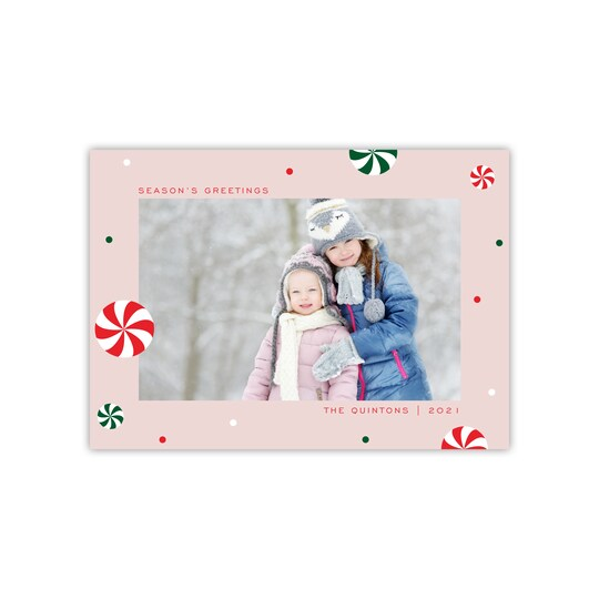 20 Pack of Gartner Studios® Personalized Peppermints Flat Holiday Photo Card in Dusty Rose | 5
