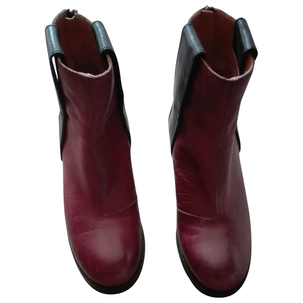Mm6 - Boots   pour femme en cuir - bordeaux