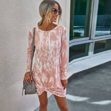 Knot Hem Tie Dye Tee Dress
