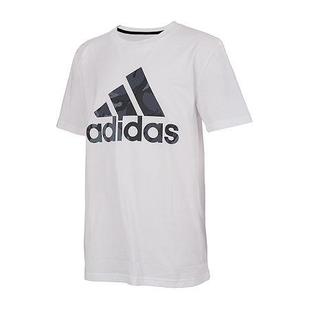 adidas Little Boys Crew Neck Short Sleeve Graphic T-Shirt, 4 , White