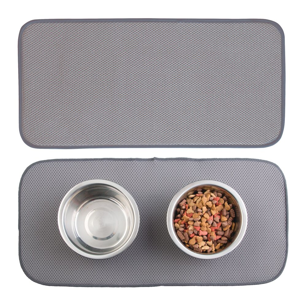 Small Microfiber Pet Food and Water Bowl Mat in Pewter/Ivory, 18