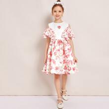 Vestido de niñas con estampado floral con fruncido de hombros descubiertos