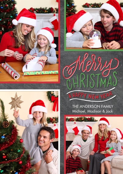 Christmas Photo Cards 5x7 Cards, Premium Cardstock 120lb with Elegant Corners, Card & Stationery -Christmas Gold Borders