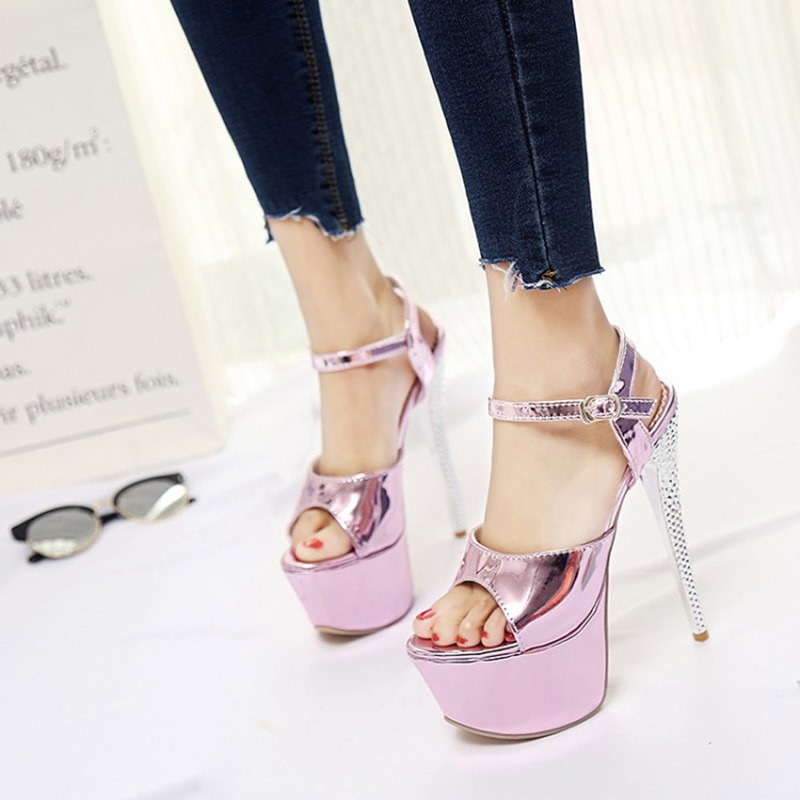 Ericdress Open Toe Stiletto Heel Buckle Sweet Sandals