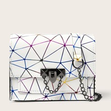 Geometric Graphic Flap Crossbody Bag