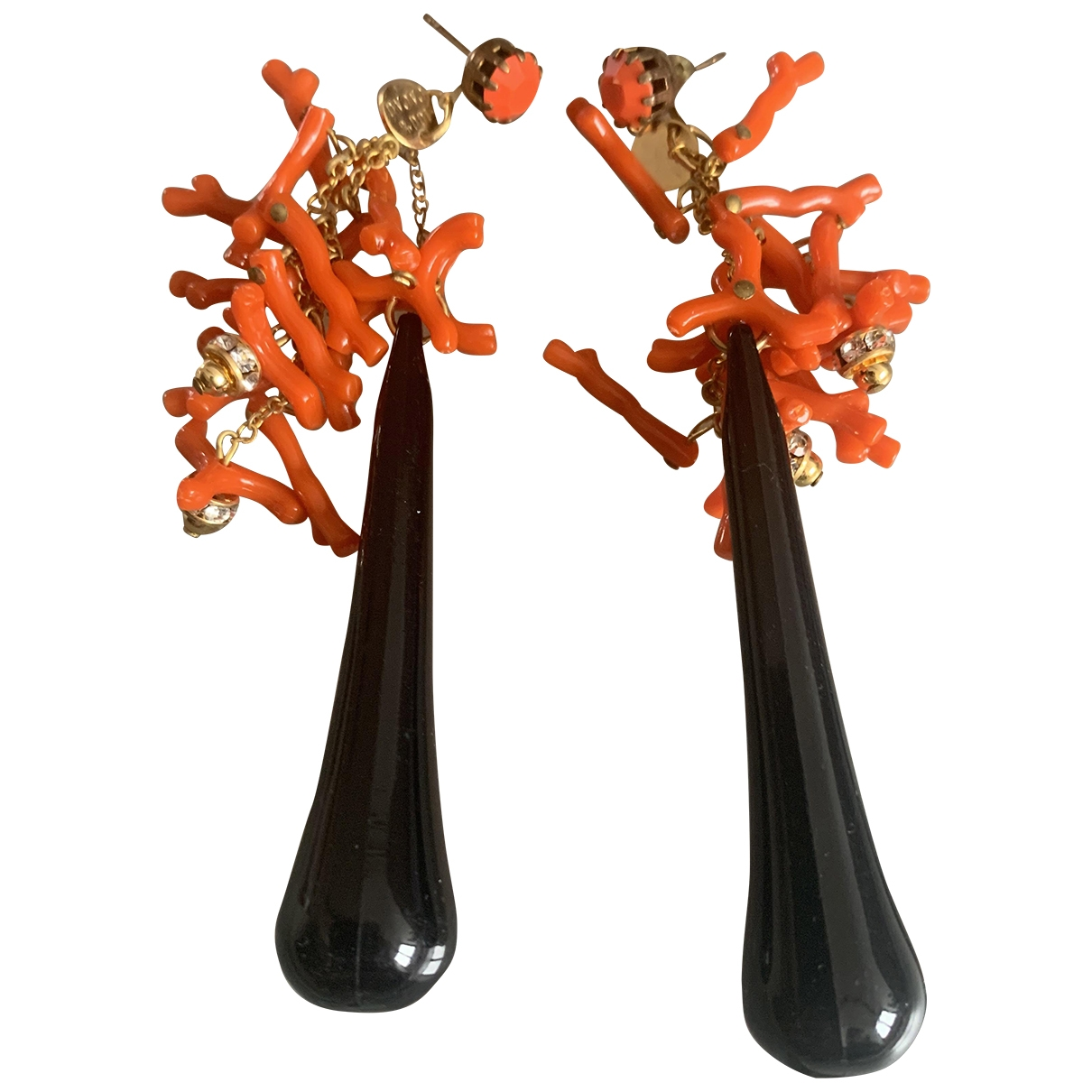 - Boucles doreilles Corail pour femme en metal - noir
