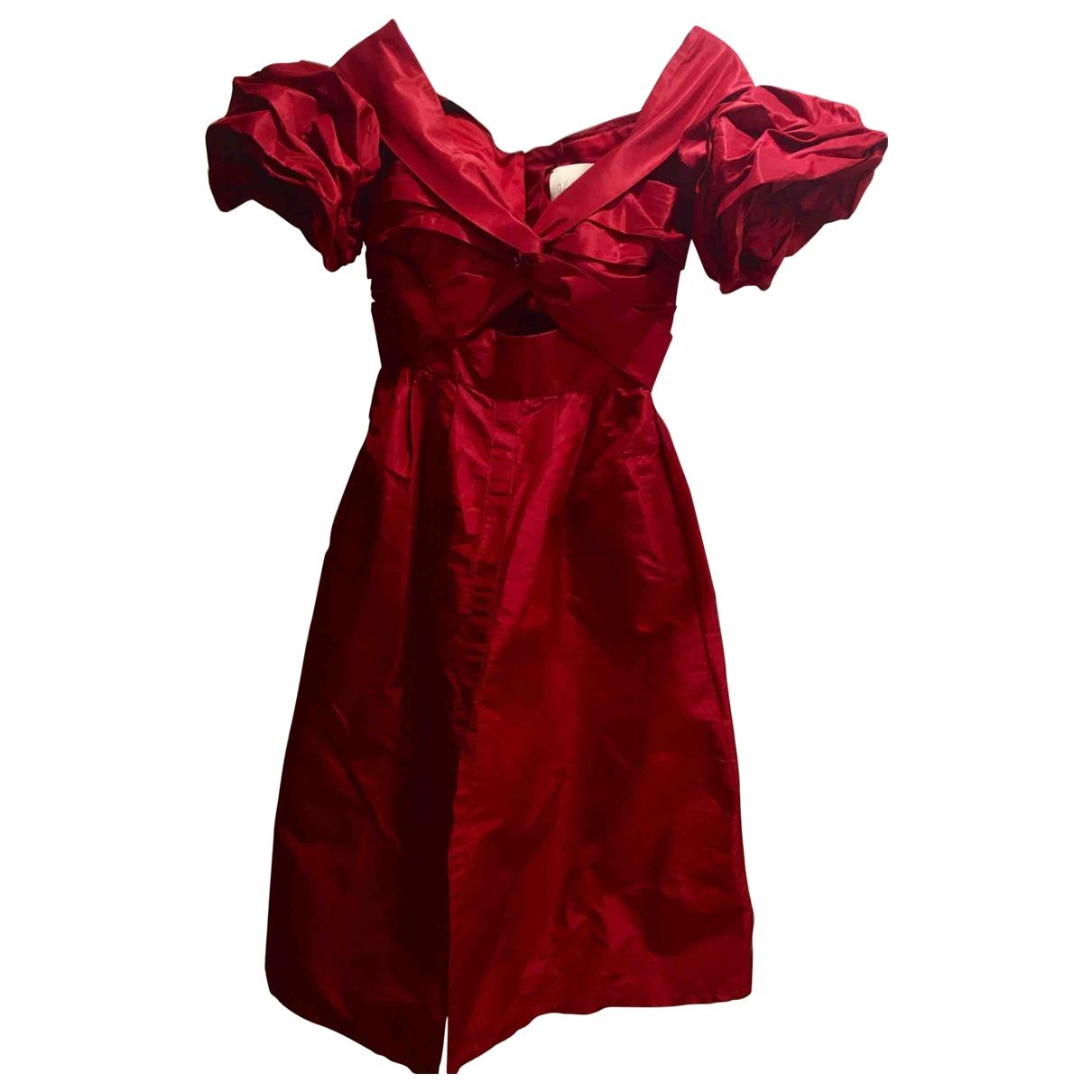 Johanna Ortiz \N Kleid in  Rot Seide