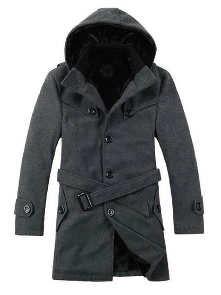 Milanoo Black Winter Coat Men Trench Coat Hooded Long Sleeve Single Breasted Wrap Coat