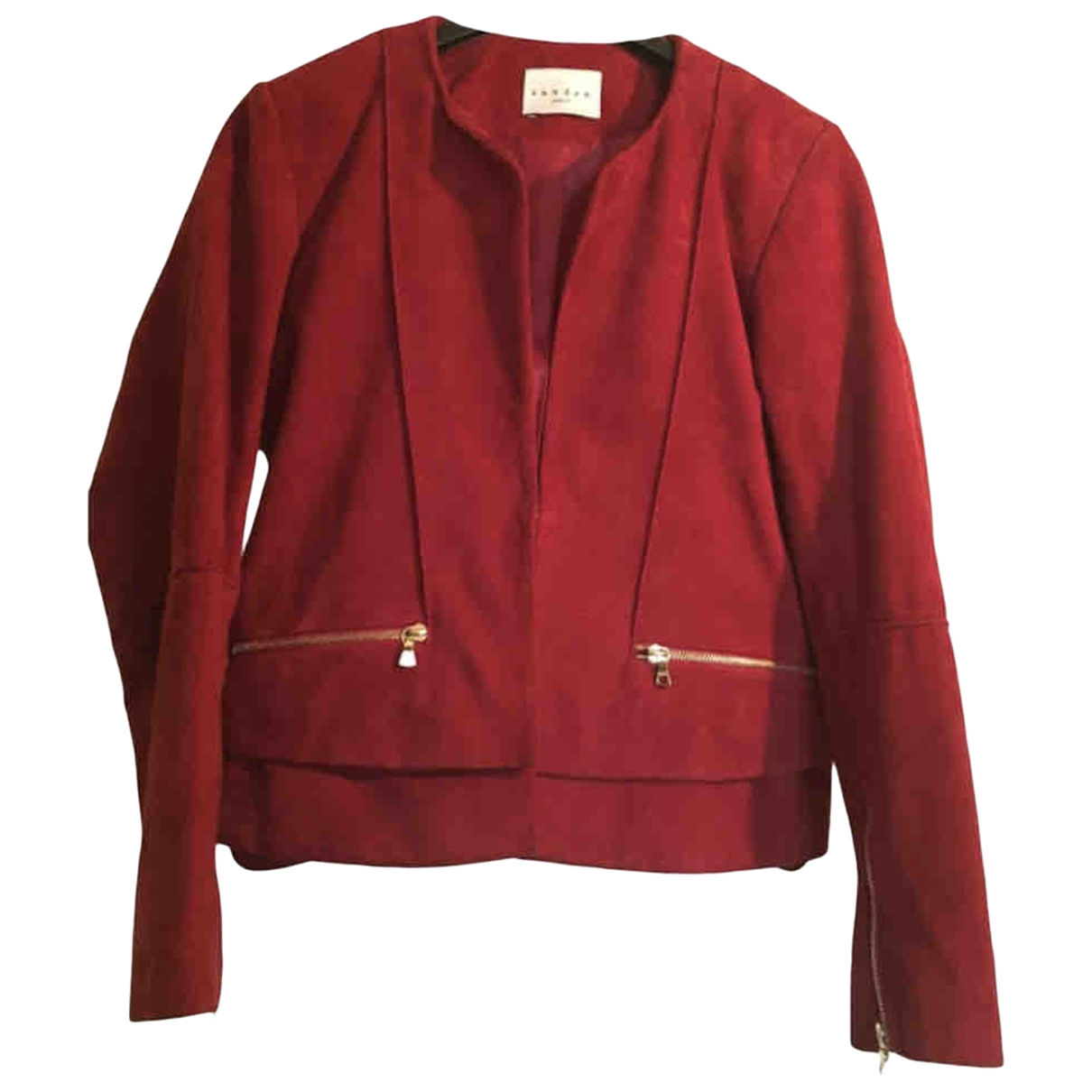 Sandro Fall Winter 2019 Burgundy Suede jacket for Women M International