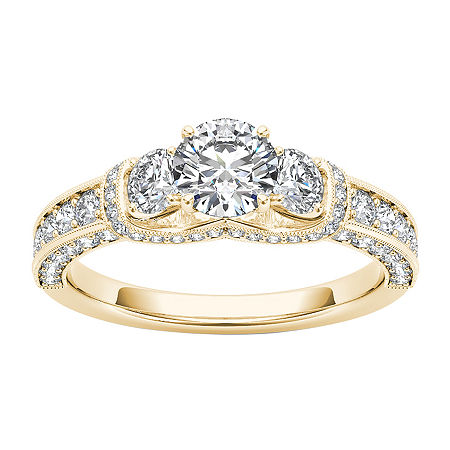 Womens 1 1/5 CT. T.W. Genuine White Diamond 14K Gold 3-Stone Engagement Ring, 6 , No Color Family