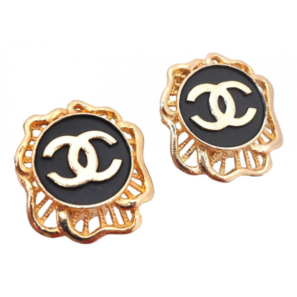 Chanel - Boucles doreilles CC pour femme en plaque or - multicolore