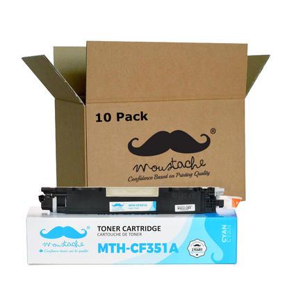 Compatible HP 130A CF351A cartouche de toner cyan - Moustache - 10/paquet