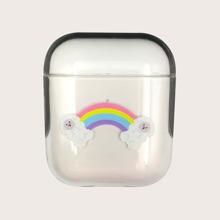 1 pieza funda de Airpods transparente con estampado de arcoiris