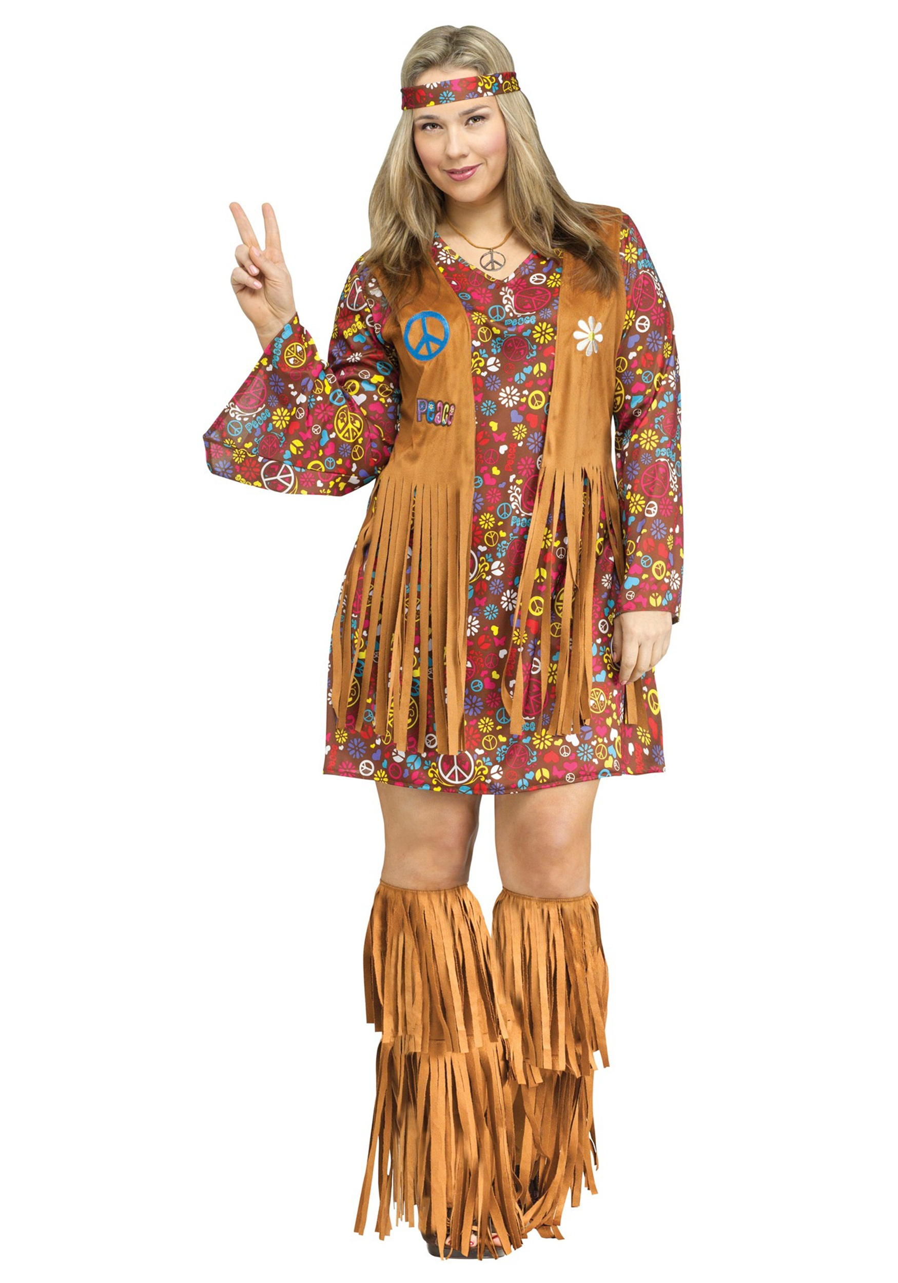 Peace & Love Plus Size Costume | Hippie Plus Size Costume