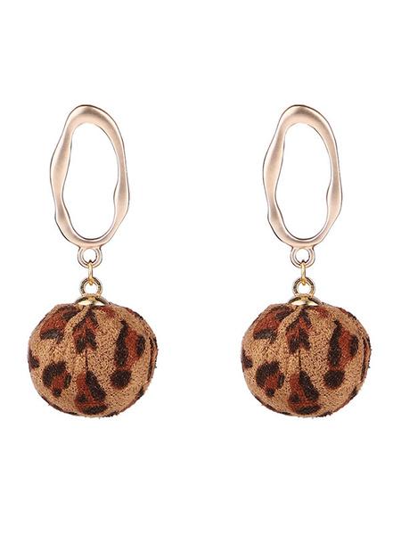 Milanoo Women Earrings Leopard Print Metal Pierced Casual Drop Earrings